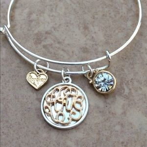 Two Tone Script Love Crystal Charm Bangle Bracelet
